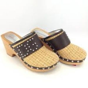 Dolce & Gabbana Woven Straw & Leather Clogs